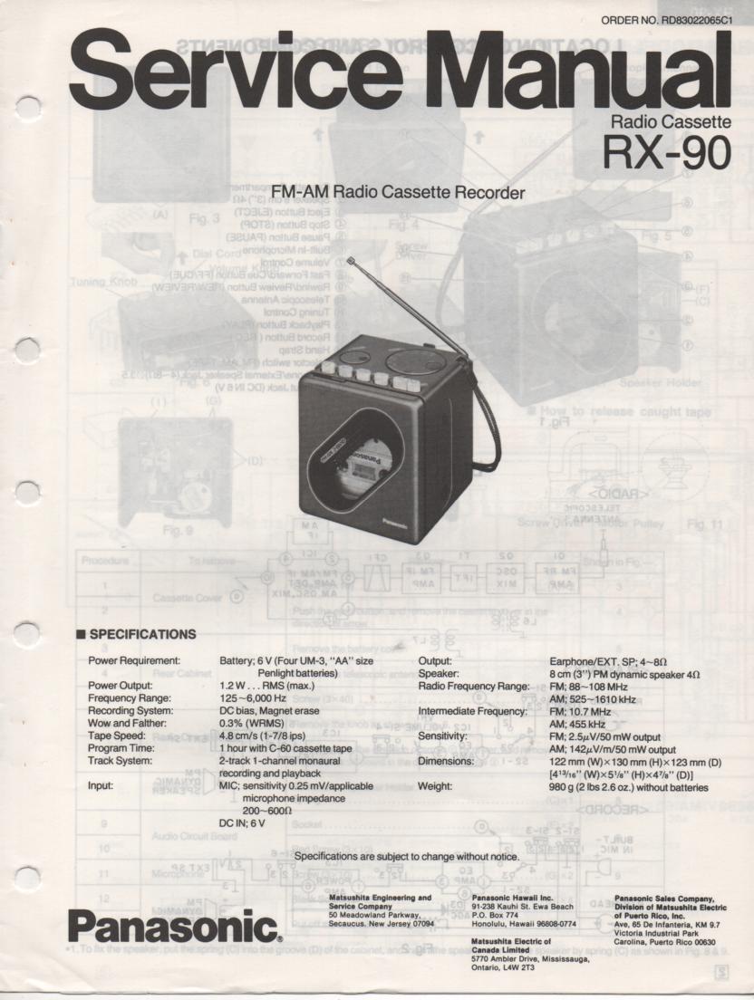 RX-90 Radio Cassette Radio Service Manual