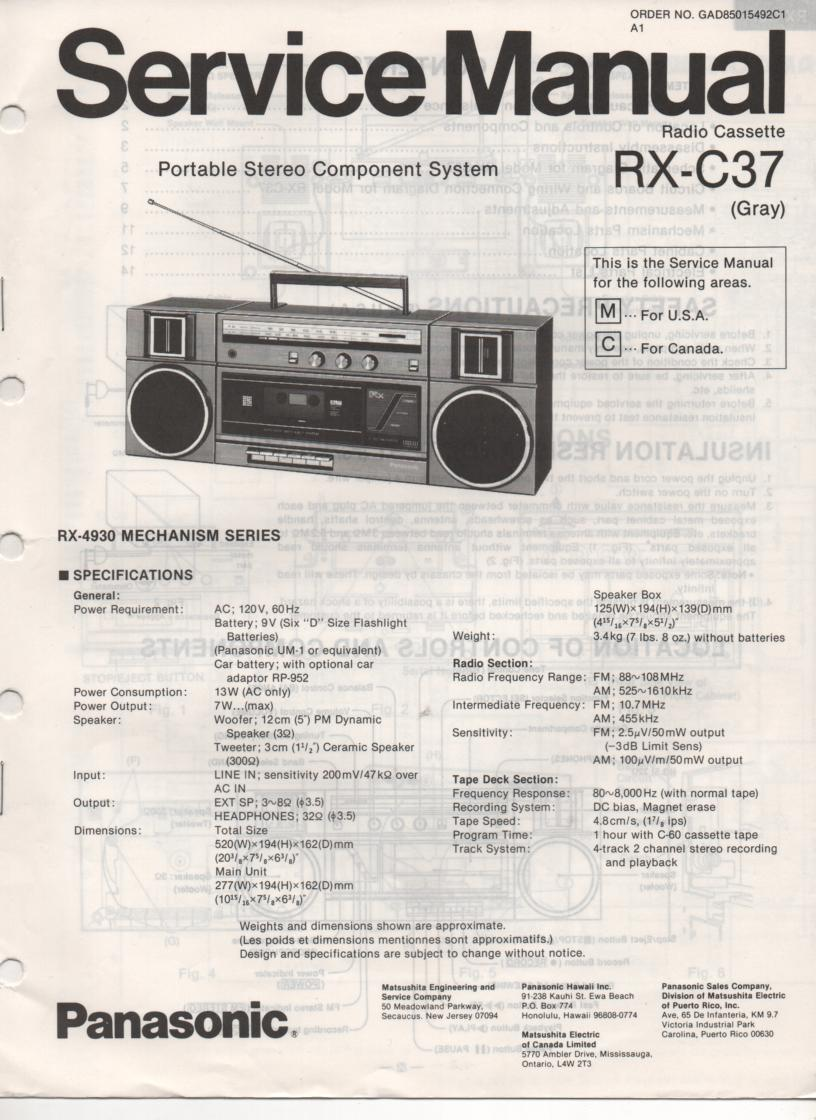 RX-C37 Radio Cassette Service Manual