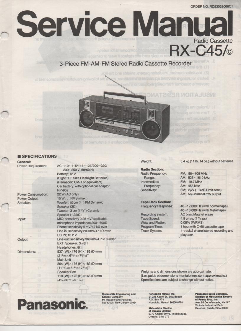 RX-C45 RX-45C Radio Cassette Service Manual