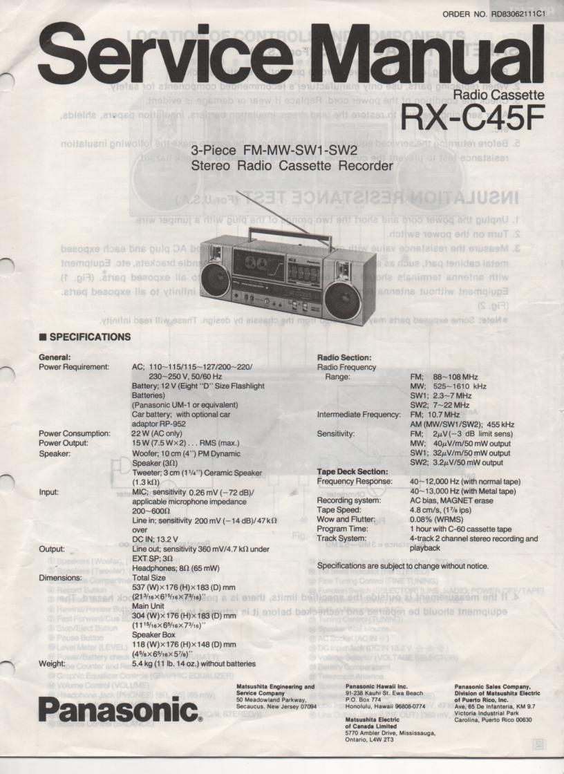 RX-C45F Radio Cassette Service Manual