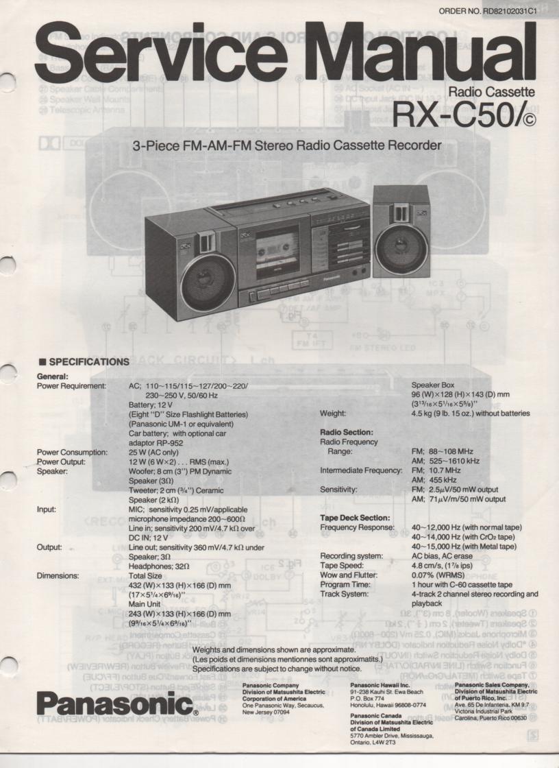 RX-C50 RX-C50C Radio Cassette Service Manual