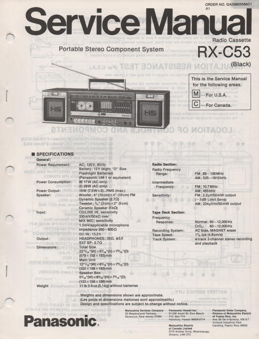 RX-C53 Radio Cassette Service Manual