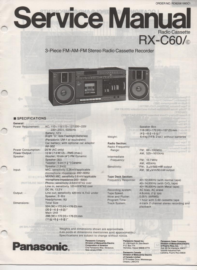 RX-C60 RX-C60C Radio Cassette Service Manual