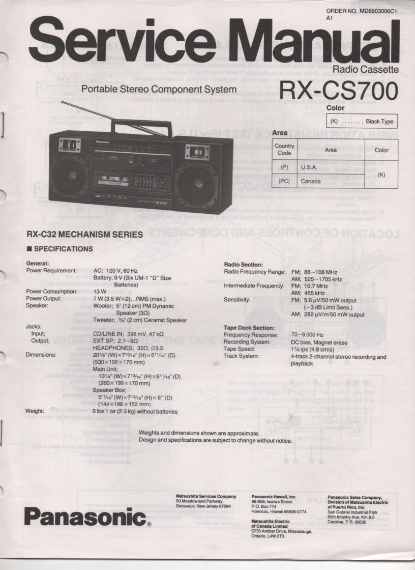 RX-CS700 Radio Cassette Service Manual
