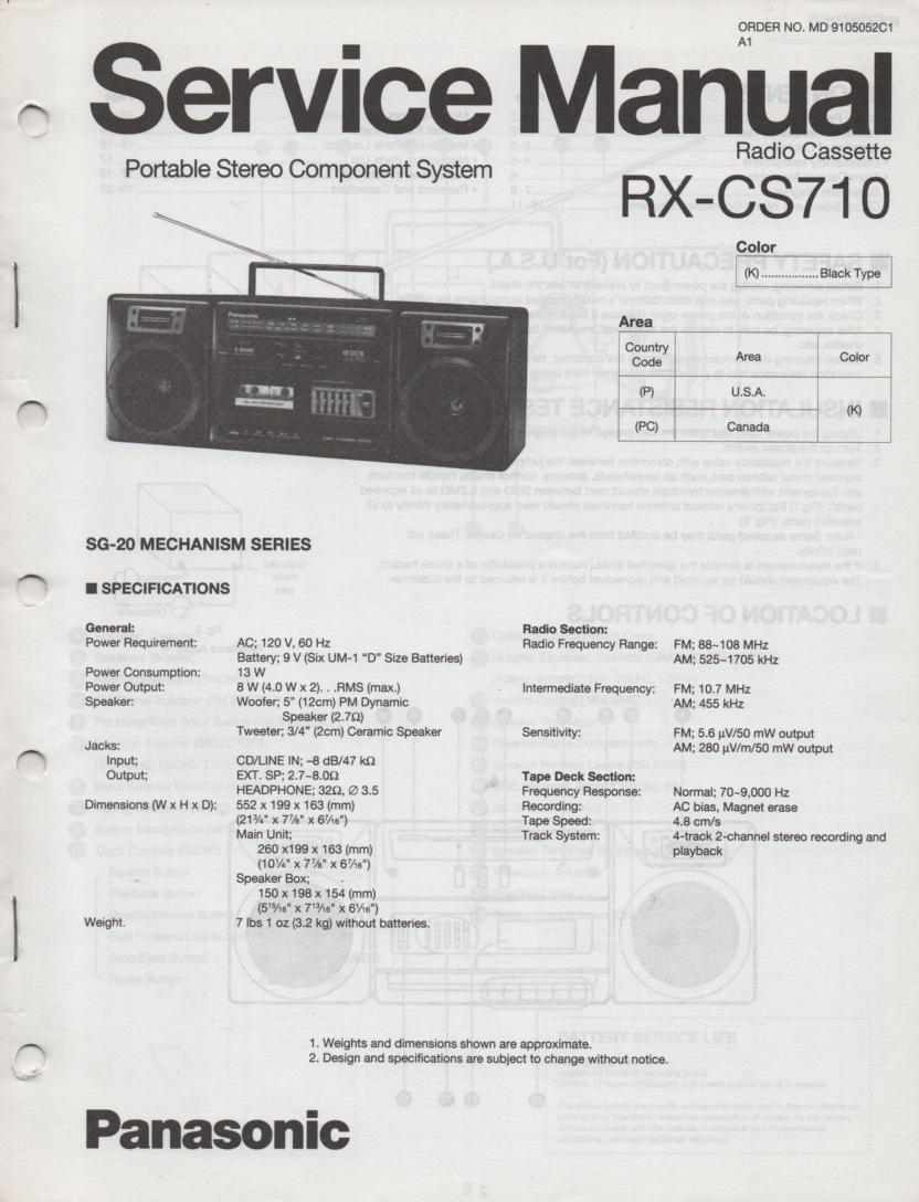 RX-CS710 Radio Cassette Service Manual