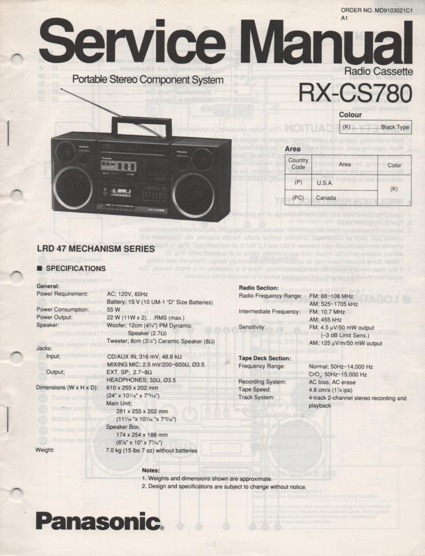 RX-CS780 Radio Cassette Service Manual