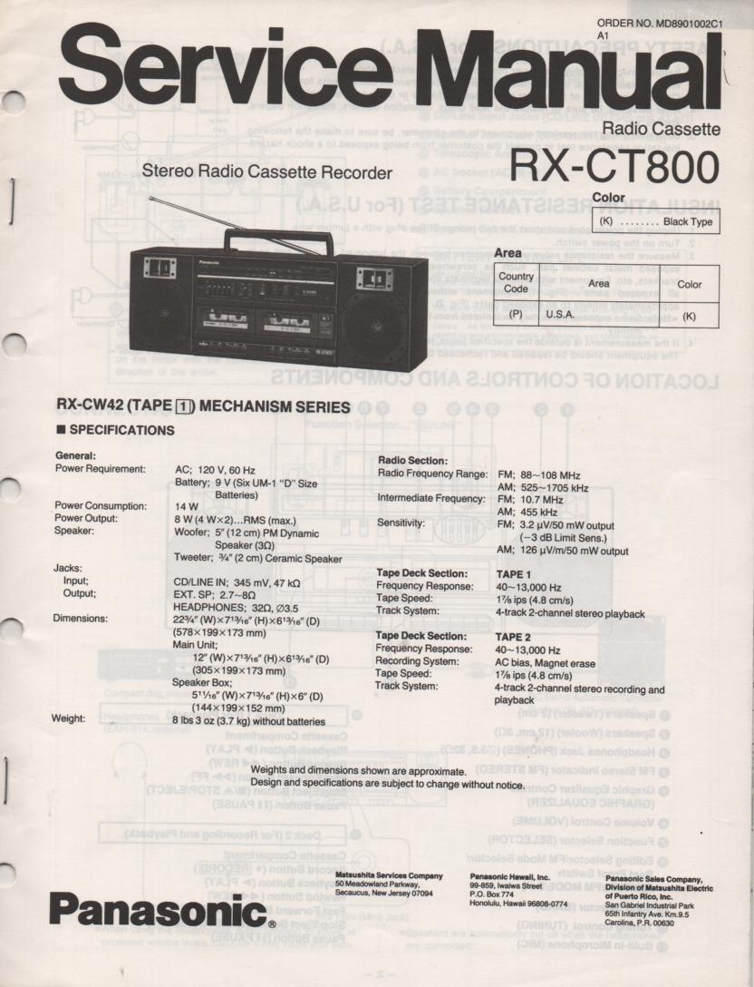 RX-CT800 Radio Cassette Service Manual