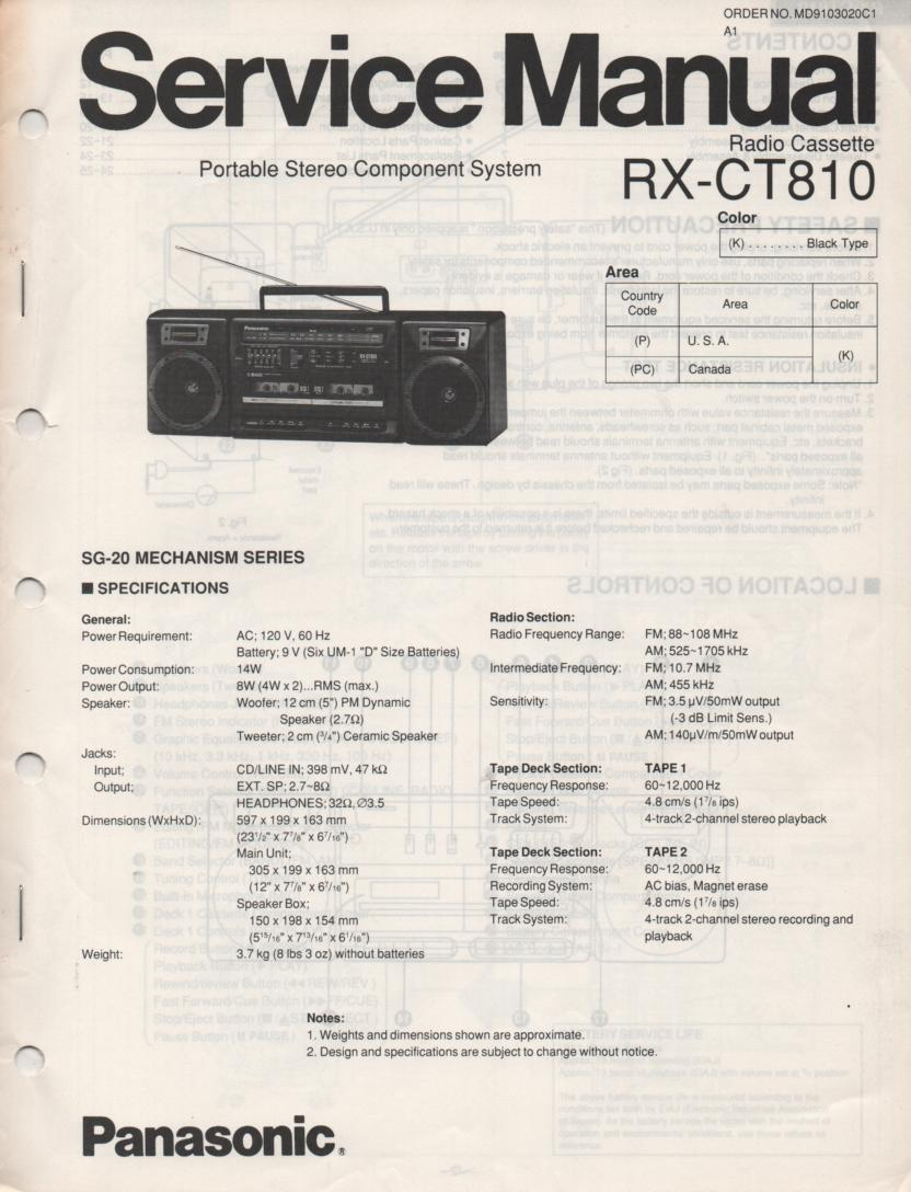 RX-CT810 Radio Cassette Service Manual