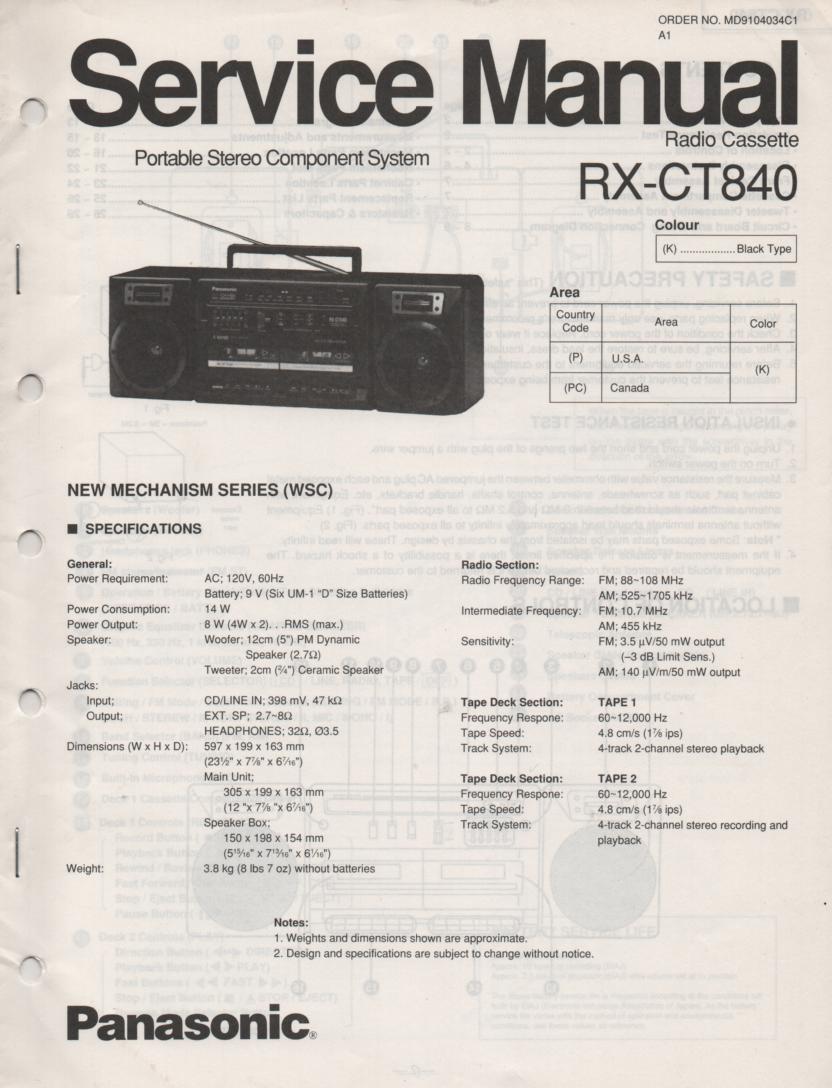 RX-CT840 Radio Cassette Service Manual