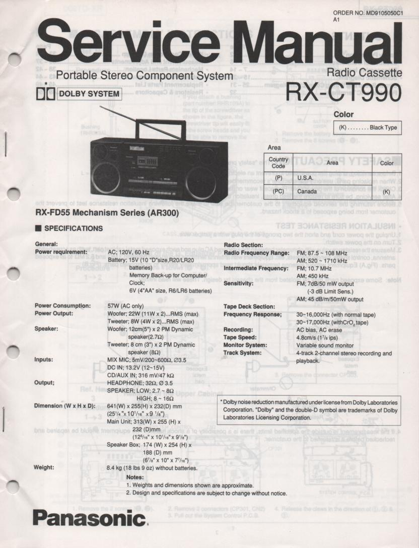 RX-CT990 Radio Cassette Service Manual