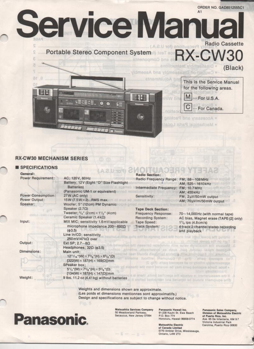 RX-CW30 Radio Cassette Service Manual