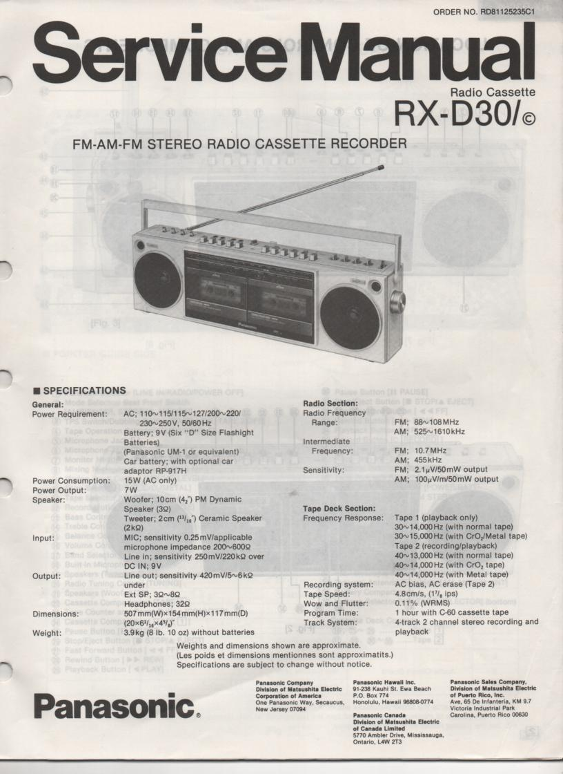 RX-D30 RX-D30C AM FM Stereo Cassette Recorder Service Manual