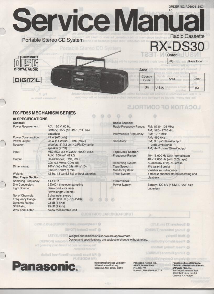 RX-DS30 AM FM CD Player Cassette Recorder Service Manual
