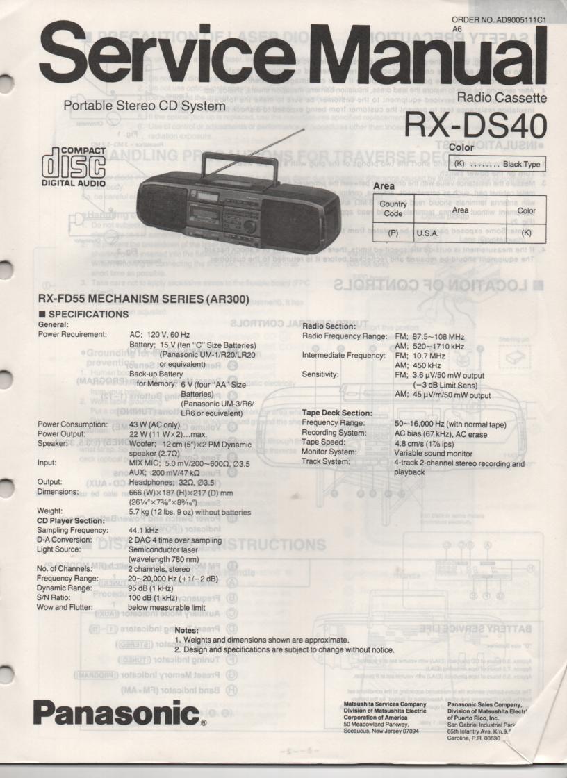 RX-DS40 AM FM CD Player Cassette Recorder Service Manual