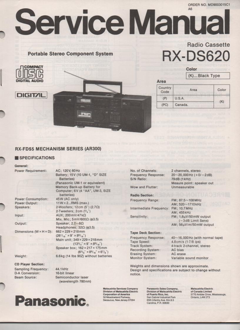 RX-DS620 AM FM CD Player Cassette Recorder Service Manual