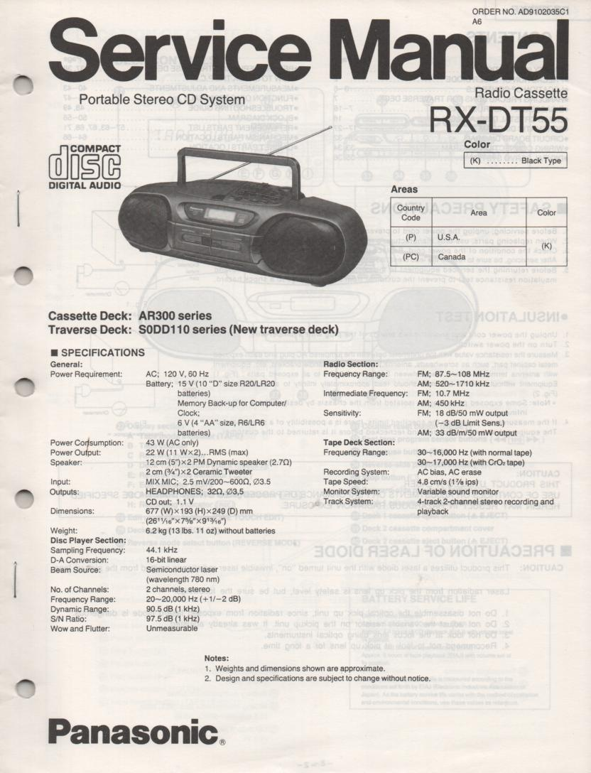 RX-DT55 AM FM CD Player Cassette Recorder Technical Service Manual