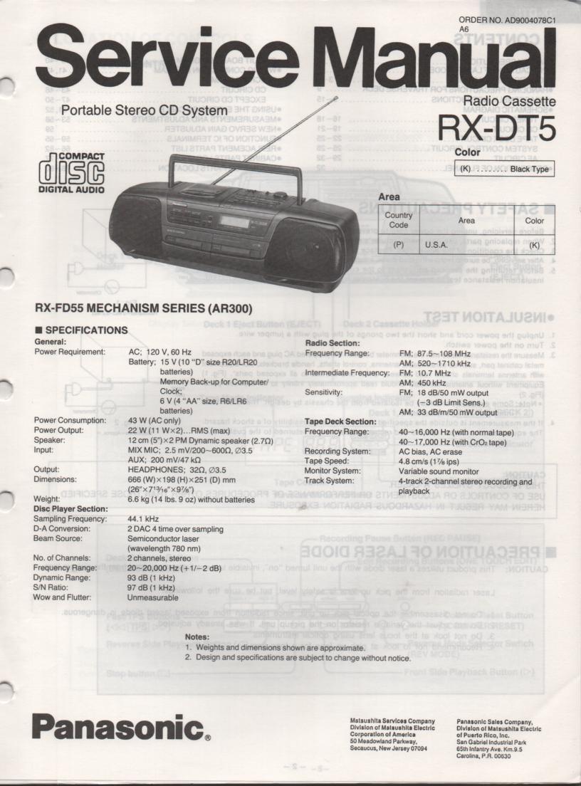 RX-DT5 AM FM CD Player Cassette Recorder Technical Service Manual