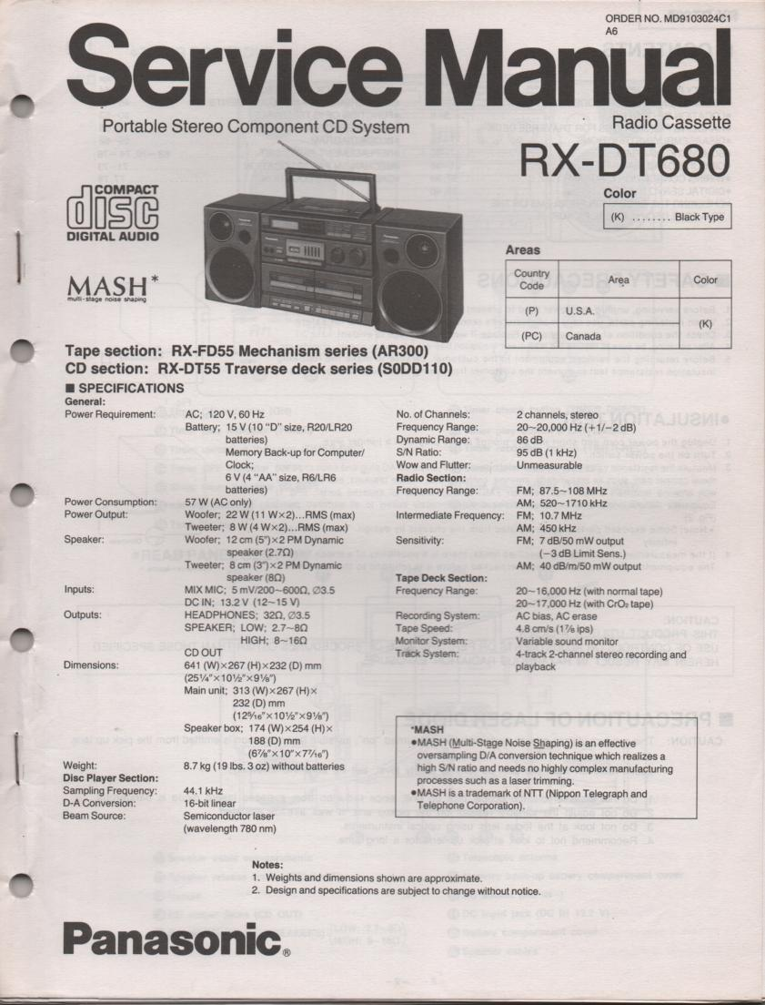 RX-DT680 AM FM CD Player Cassette Recorder Technical Service Manual