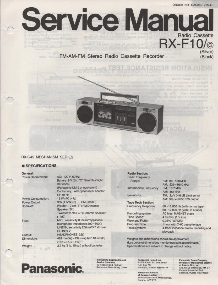 RX-F10 RX-F10C AM FM Cassette Recorder Service Manual