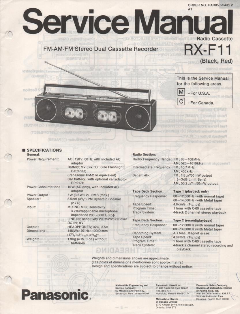 RX-F11 AM FM Cassette Recorder Service Manual
