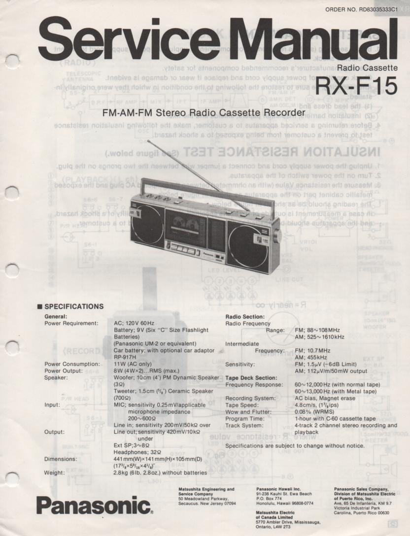 RX-F15 AM FM Cassette Recorder Service Manual
