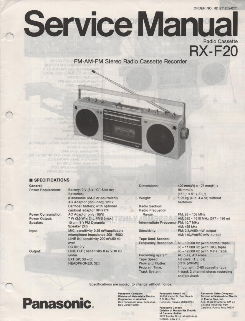 RX-F20 AM FM Cassette Recorder Service Manual