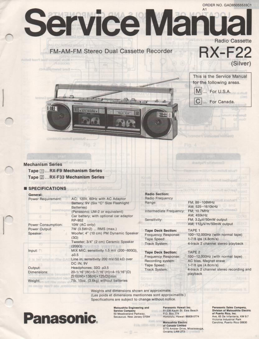 RX-F22 AM FM Cassette Recorder Service Manual