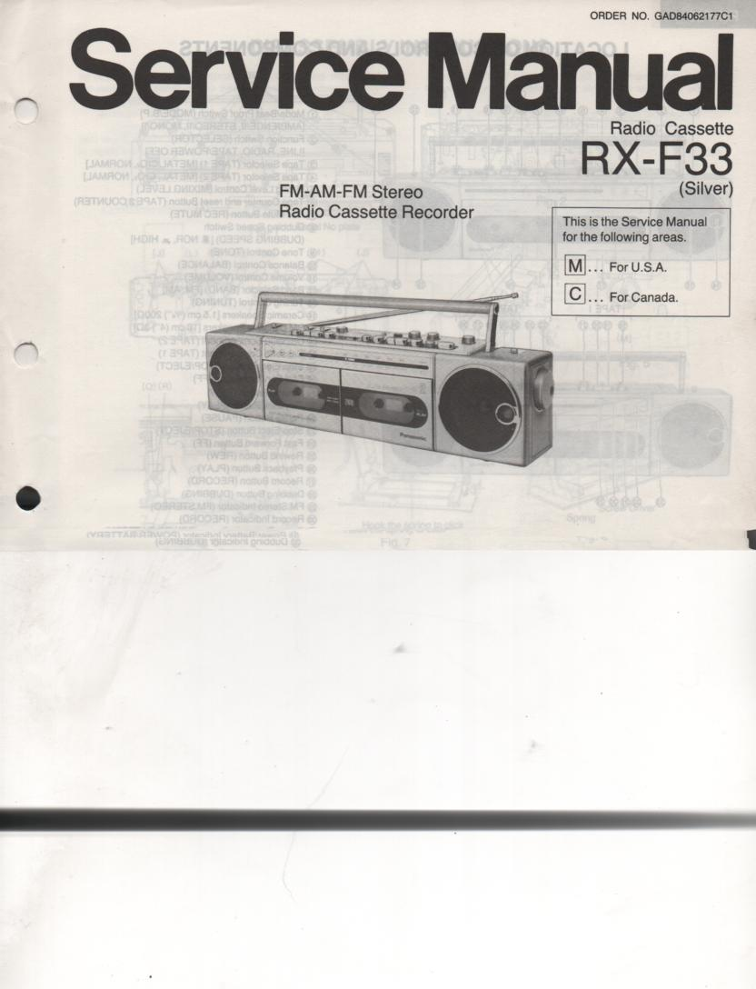 RX-F33 AM FM Cassette Recorder Service Manual