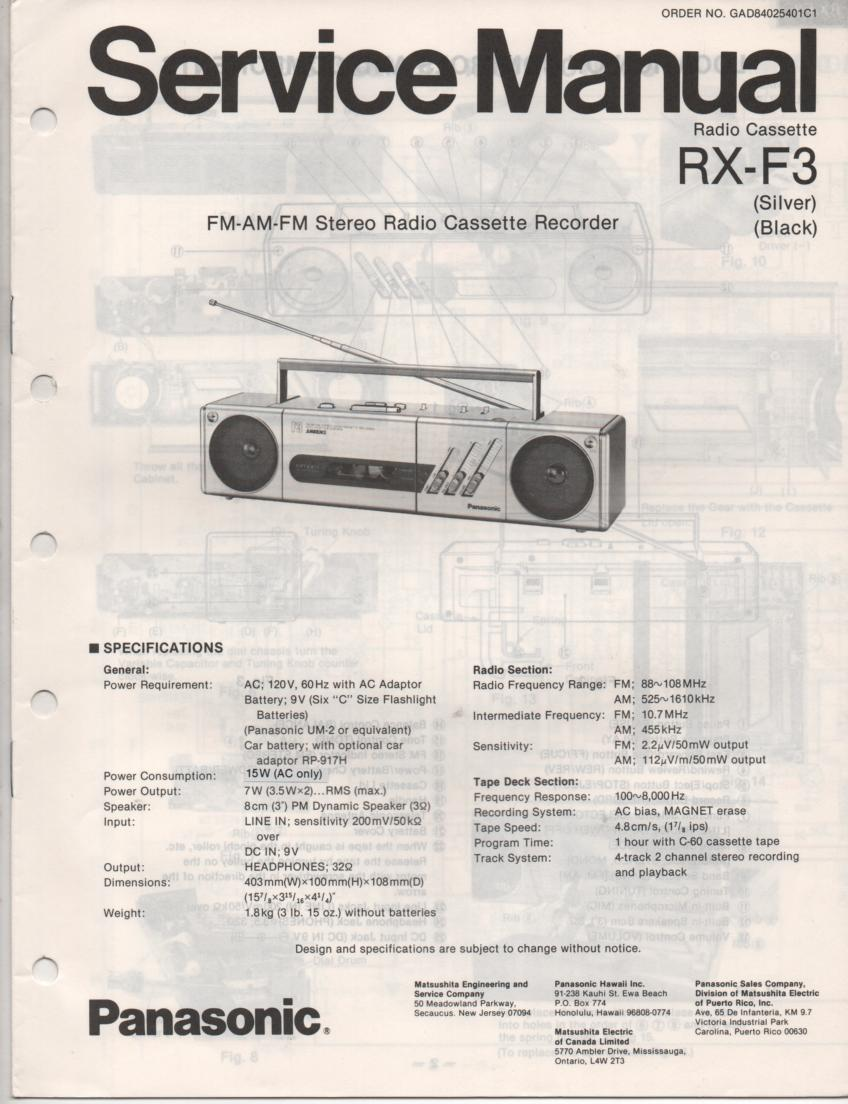 RX-F3 AM FM Cassette Recorder Service Manual