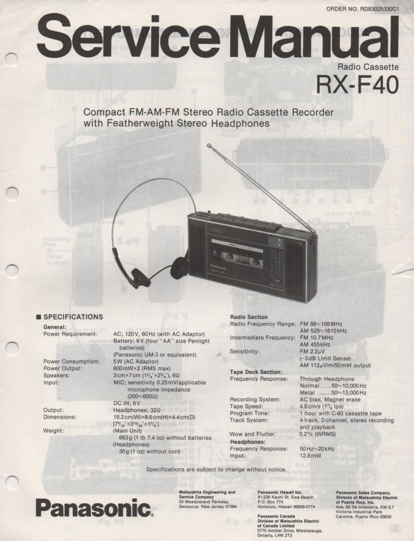 RX-F40 AM FM Cassette Recorder Service Manual