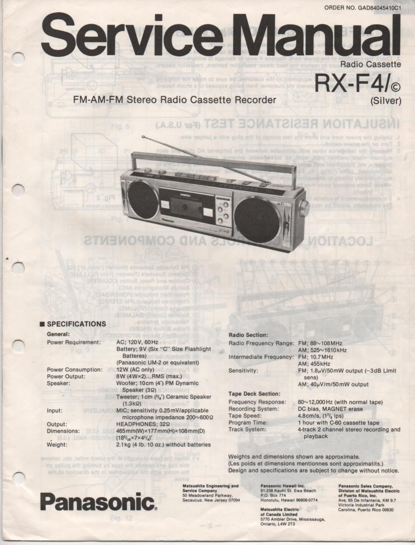 RX-F4 RX-F4C AM FM Cassette Recorder Service Manual