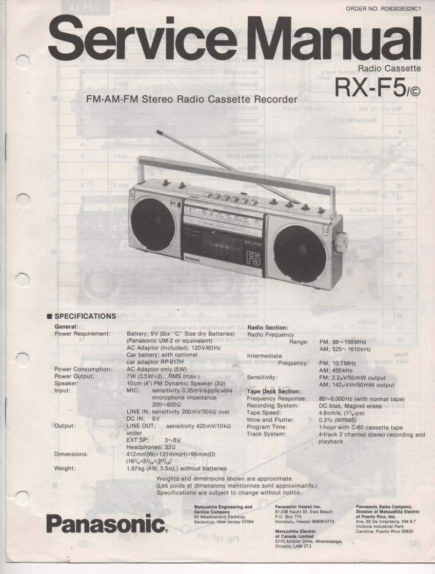 RX-F5 RX-F5C AM FM Cassette Recorder Service Manual