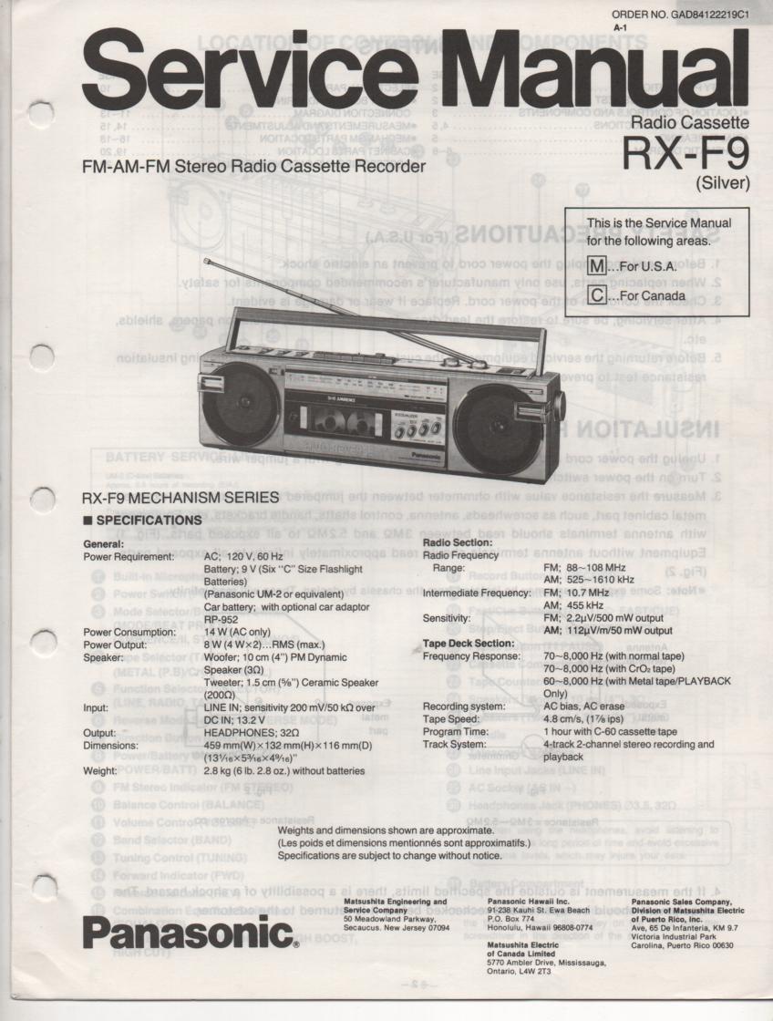 RX-F9 AM FM Cassette Recorder Service Manual