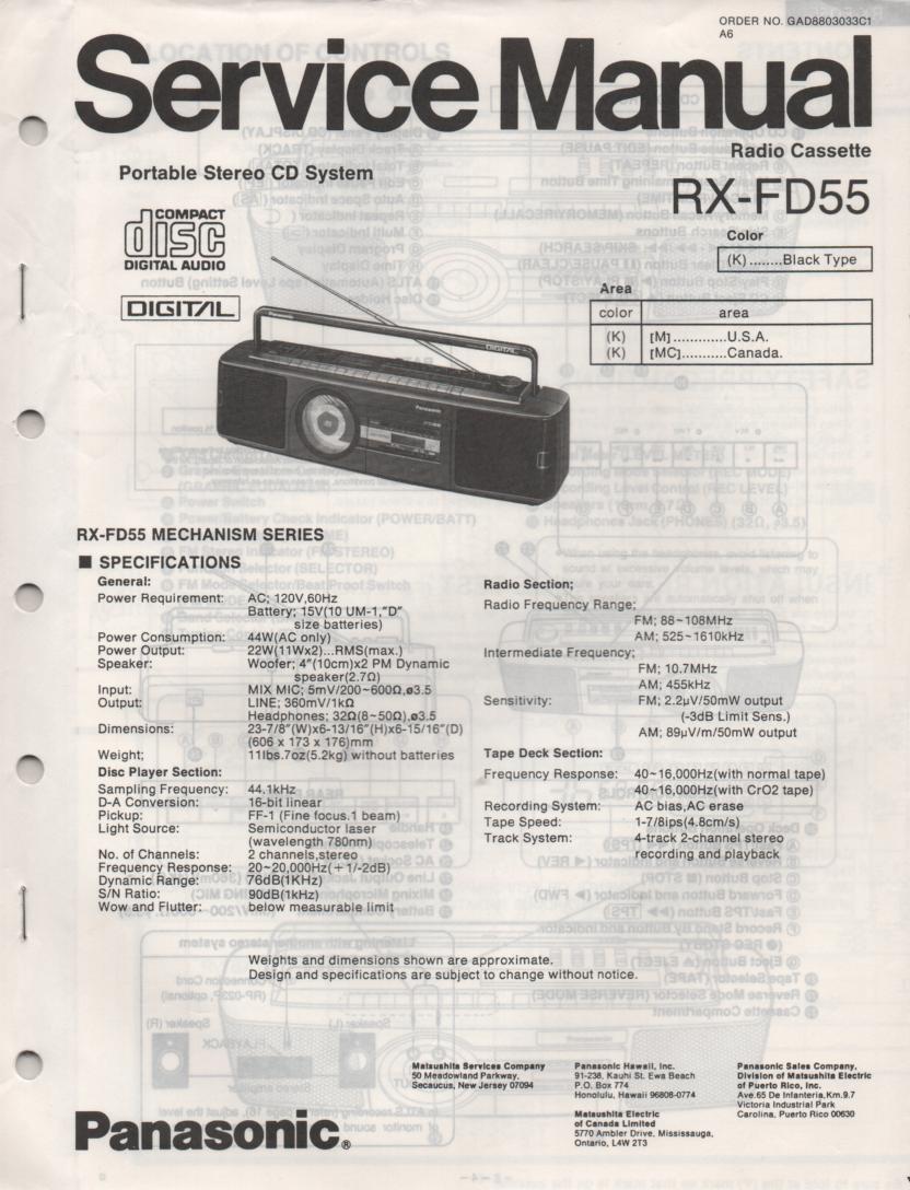 RX-FD55 AM FM CD Player Cassette Recorder Service Manual