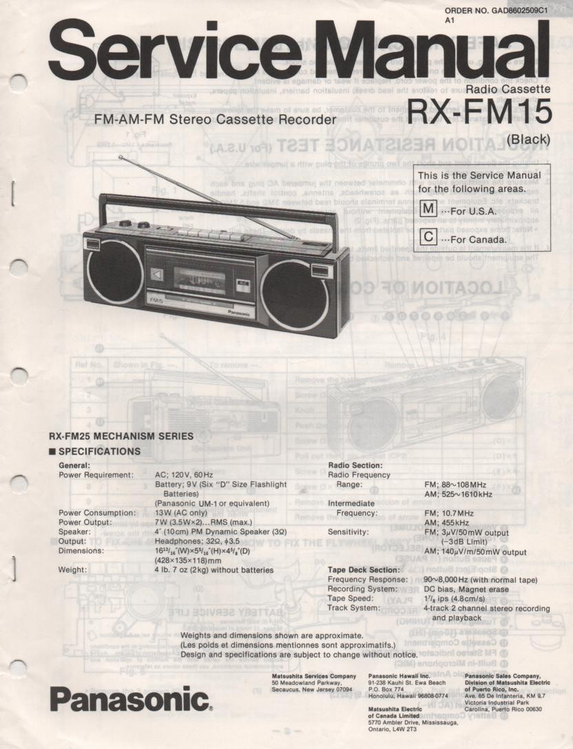 RX-FM15 AM FM Cassette Recorder Service Manual