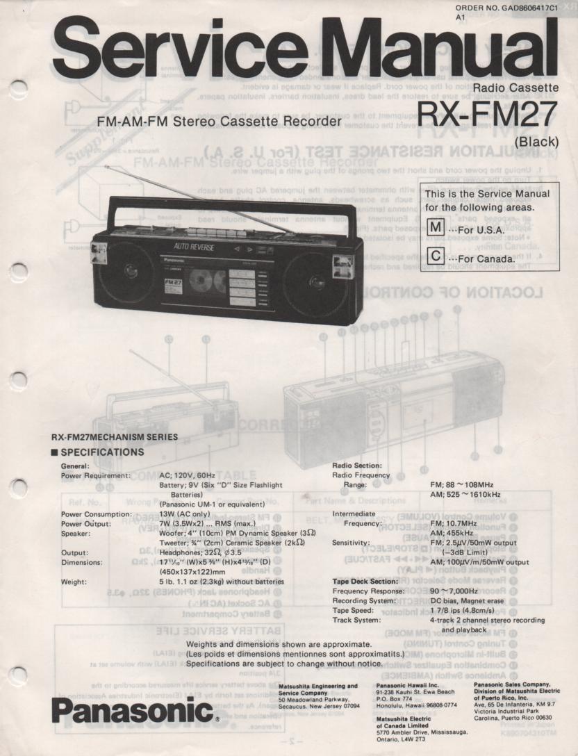 RX-FM27 AM FM Cassette Recorder Service Manual