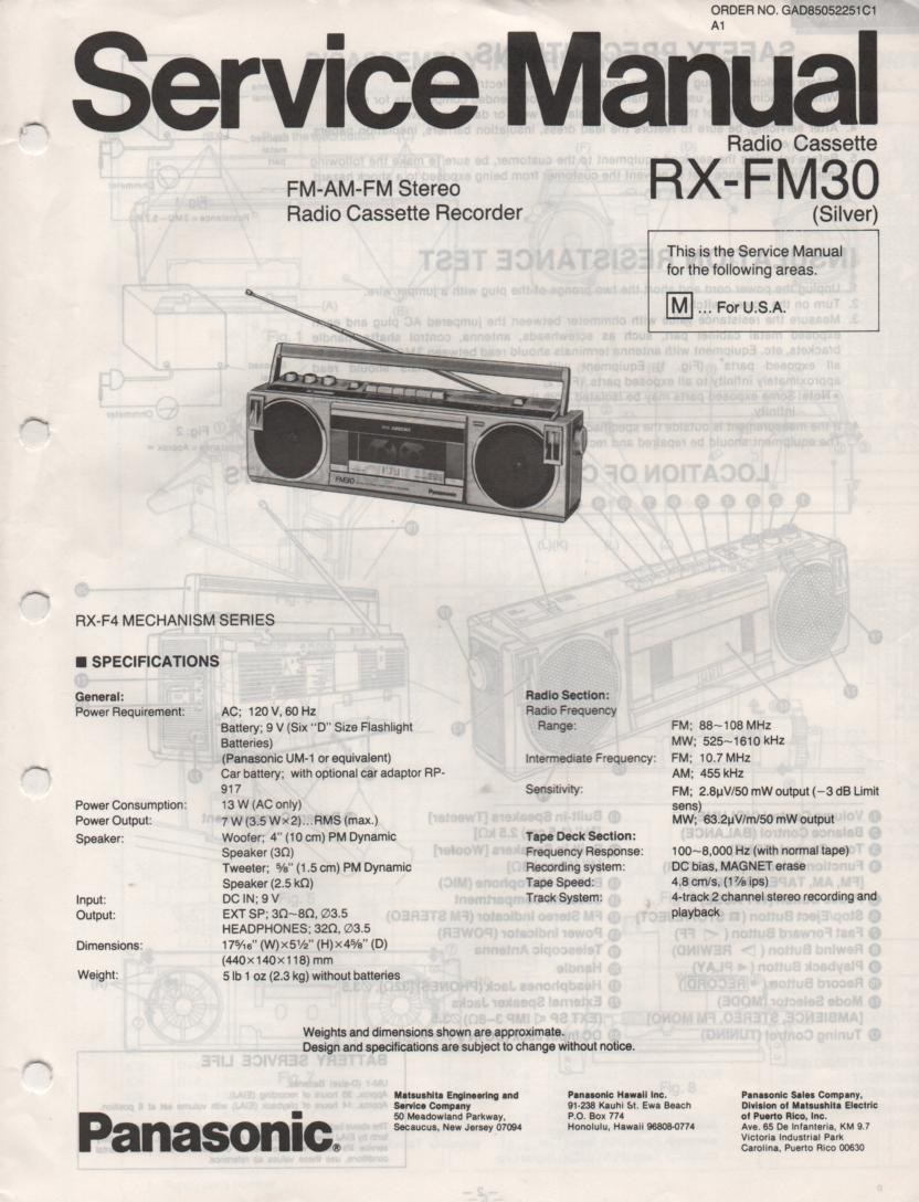 RX-FM30 AM FM Cassette Recorder Service Manual