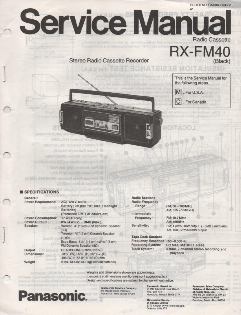 RX-FM40 AM FM Cassette Recorder Service Manual