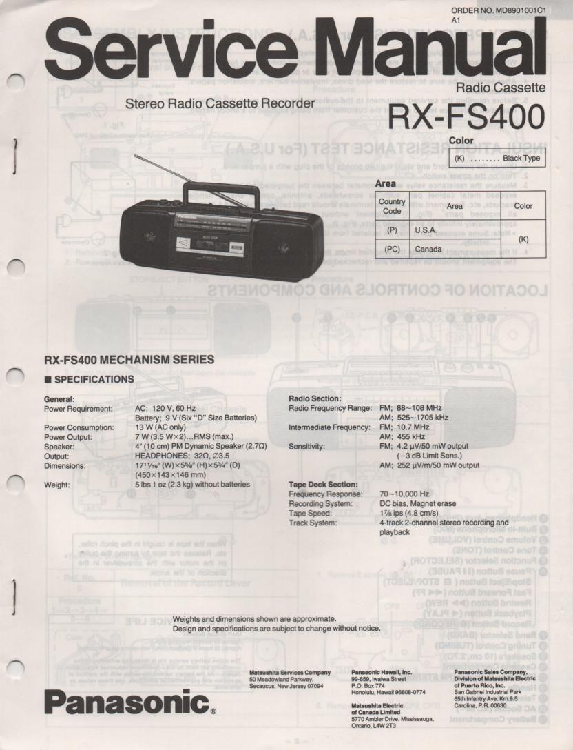 RX-FS400 AM FM Radio Cassette Recorder Service Manual