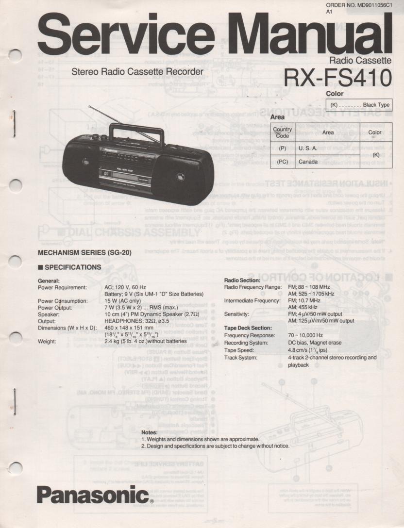 RX-FS410 AM FM Radio Cassette Recorder Service Manual