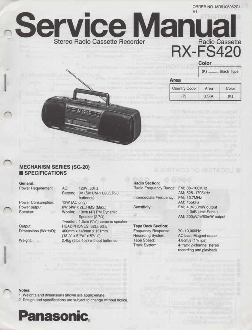 RX-FS420 AM FM Radio Cassette Recorder Service Manual