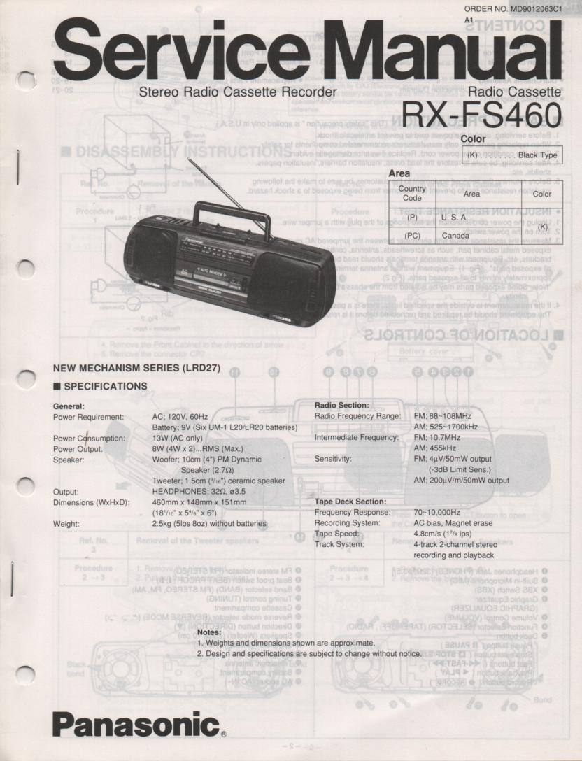 RX-FS460 AM FM Radio Cassette Recorder Service Manual