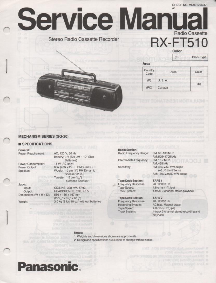 RX-FT510 AM FM Radio Cassette Recorder Service Manual