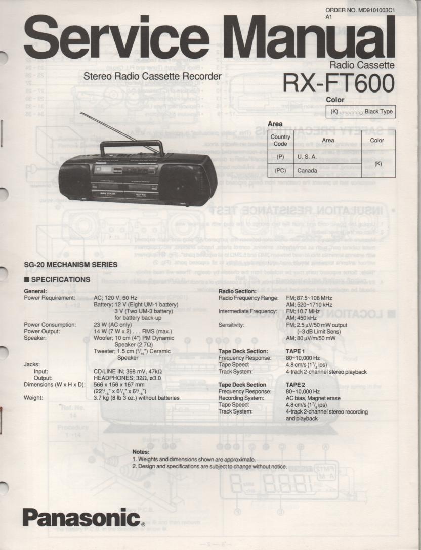 RX-FT600 AM FM Radio Cassette Recorder Service Manual