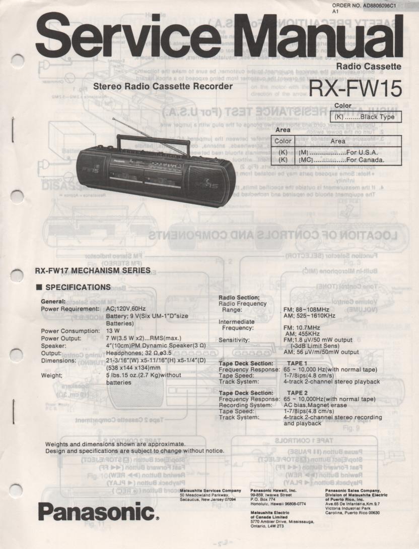 RX-FW15 AM FM Radio Cassette Recorder Service Manual