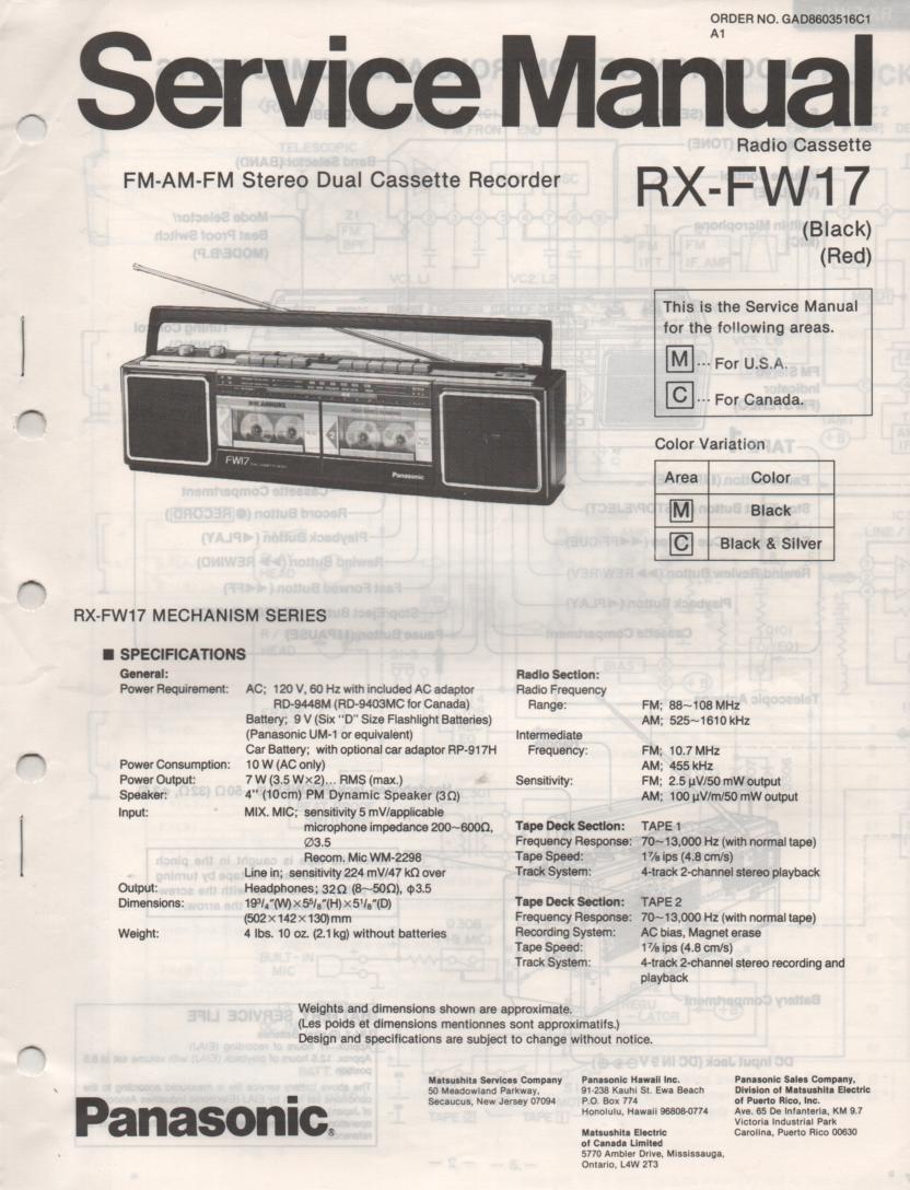 RX-FW17 AM FM Radio Cassette Recorder Service Manual
