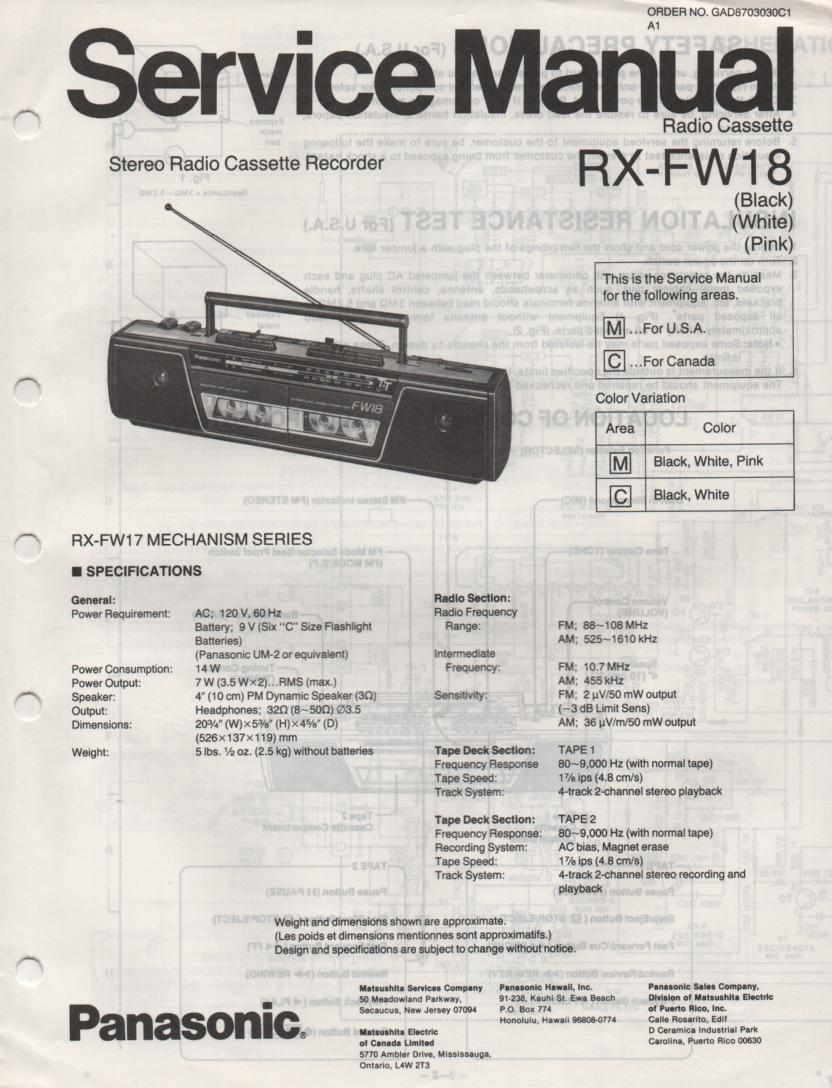 RX-FW18 AM FM Radio Cassette Recorder Service Manual