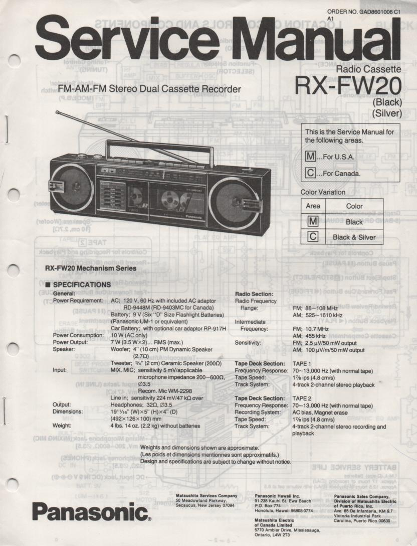 RX-FW20 AM FM Radio Cassette Recorder Service Manual
