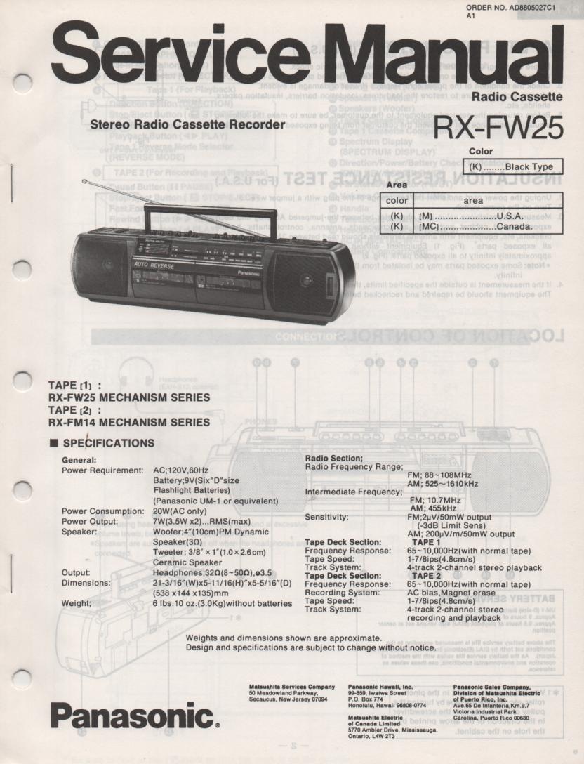 RX-FW25 AM FM Radio Cassette Recorder Service Manual