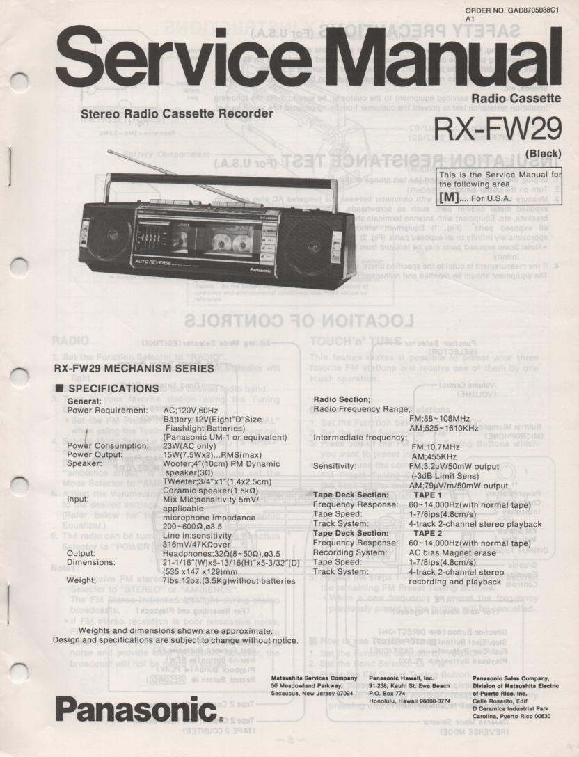 RX-FW29 AM FM Radio Cassette Recorder Service Manual